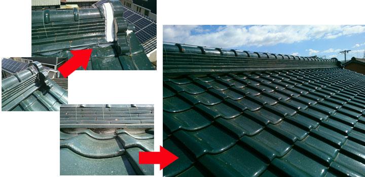 屋根の漆喰(しっくい