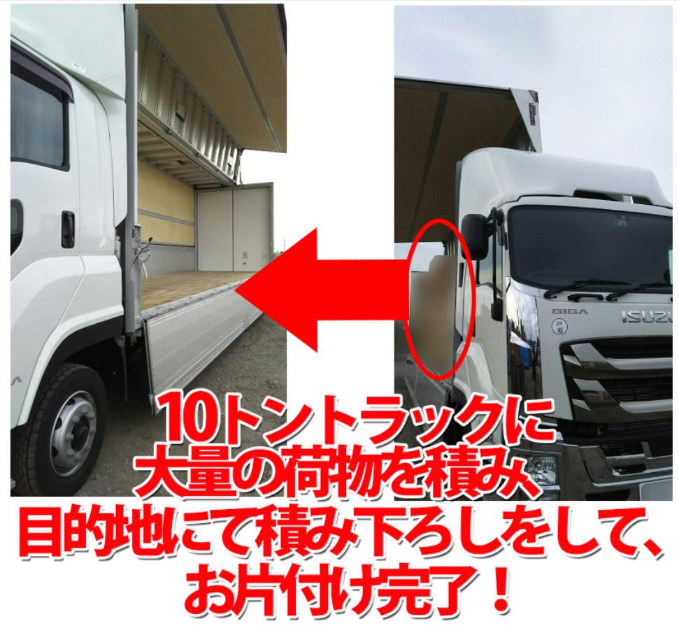 10トントラックに荷物を積み、目的地にて荷物を降ろし、お片付けの完了!
